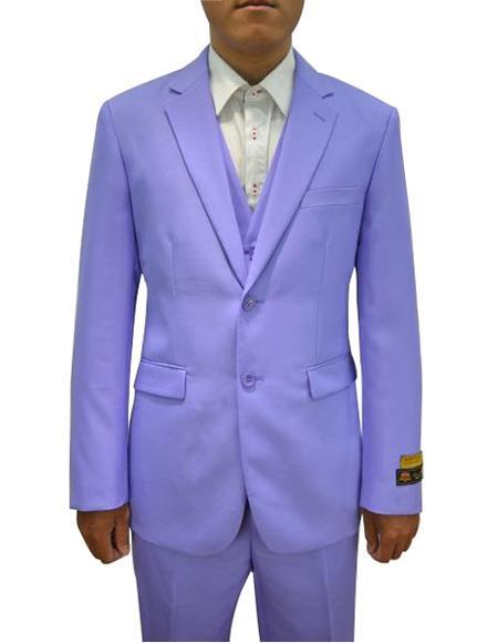 Men's Lavender One Chest Pocket Vested 3 Piece Suit