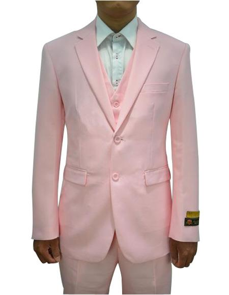 Men's Pink Vested 3 Piece Suit