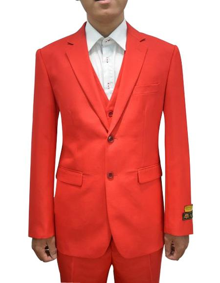 Men's Red Flap Two Pockets Vested 3 Piece Suit