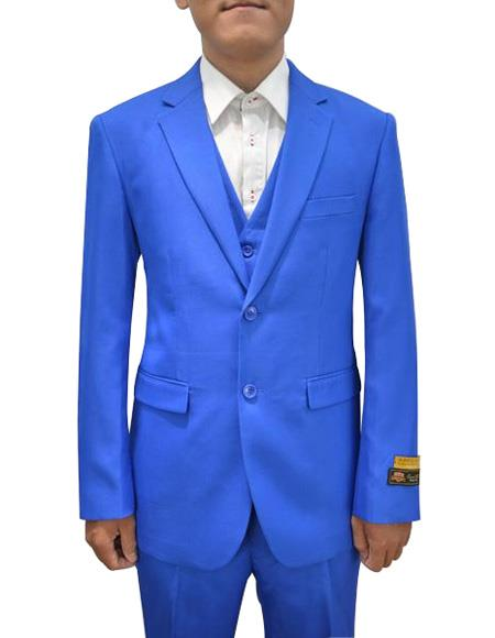 Men's Royal  Vested 3 Piece Dress Suits