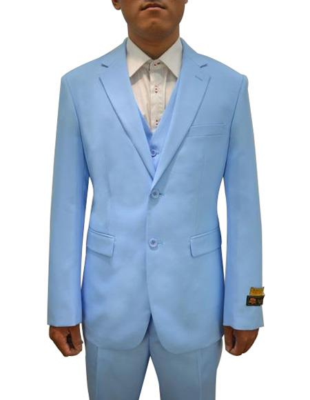 FESTIVE Colorful 2020 New Formal Style Mens Vested 3 Piece Suit Sky Blue