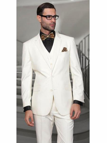 Mix and Match Suits Notch Lapel Two Buttons Side Vented Vested No Pleated Pants 100% Wool Discounted Sale Fit 3 Piece Suit Off White Men's Suit Separate Any Size Jacket & Pants
