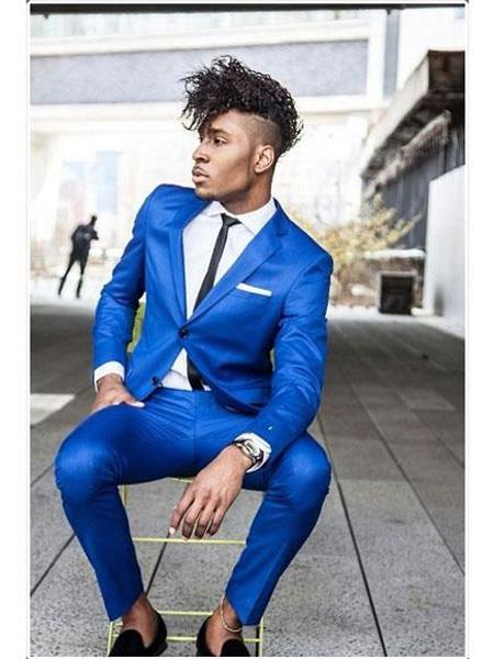 Mens Saphire~Royal ~ Indigo ~ Bright Blue ~ Cobalt New Blue 2 Button Notch Lapel Dress Suits for Men Separate Any Size Jacket & Pants