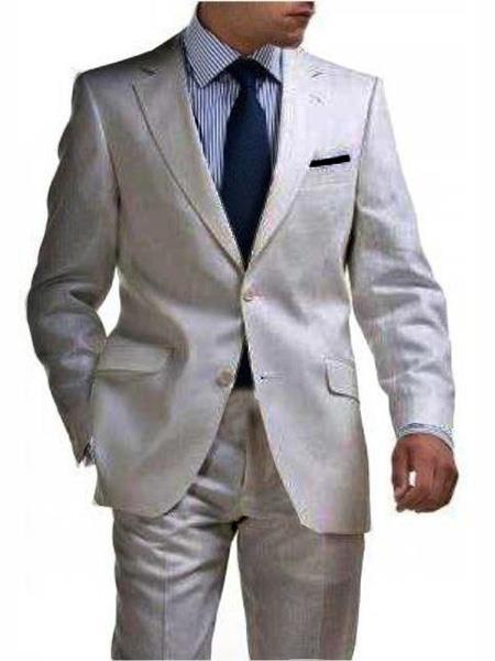 Mix and Match Suits Men's & Boys Sizes Light Weight 2 Button Tapered Cut Half Lined Flat Front Linen Suit Vented Silver Men's Suit Separate Any Size Jacket & Pants Perfect for toddler Suit wedding  attire outfits