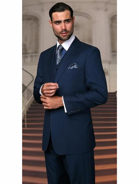 Mix and Match Suits Men's Teal Blue Pants Vested 2 Buttons Regular Fit Suit