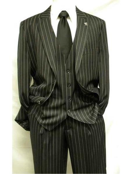 Mix and Match Suits 3 Piece Gangster Stripe Mars Vested Fashion Suit Black Men's Suit Separate Any Size Jacket & Pants