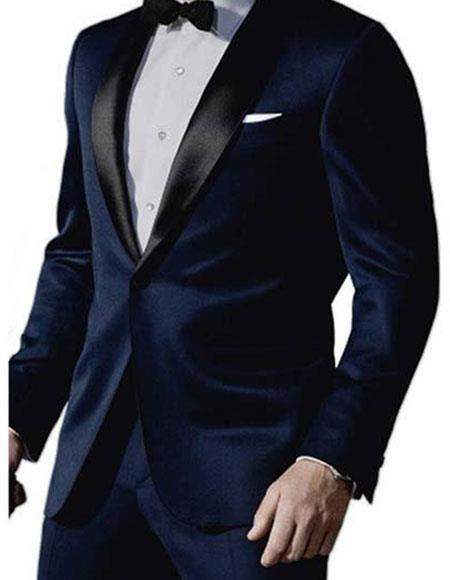 Mix and Match Suits Men's Satin Shawl Lapel 1 Button Dark Navy Blue Tuxedo Suit Men's Suit Separate Any Size James Bond Outfit