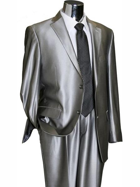 2 Button Silver Grey ~ Gray Flashy Sharkskin Mens Suit Separate Any Size Jacket & Pants