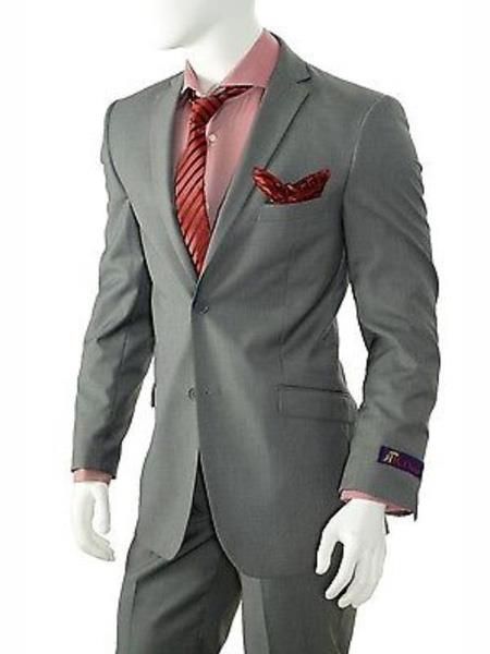 Mix and Match Suits Men's Solid Gray Slim Fit Suit Vent Online Discount Fashion Sale Cheap Priced Suits For Men Suit Separate Any Size Jacket & Pants