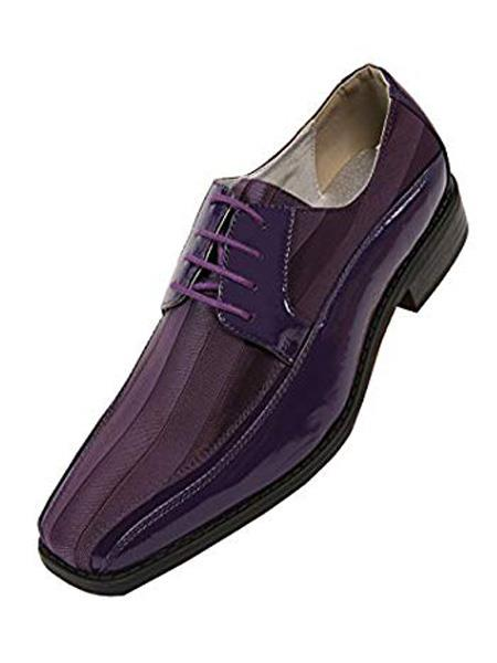 Buy SR10 Mens Cushion Insole Lace Style Purple Dress Shoes