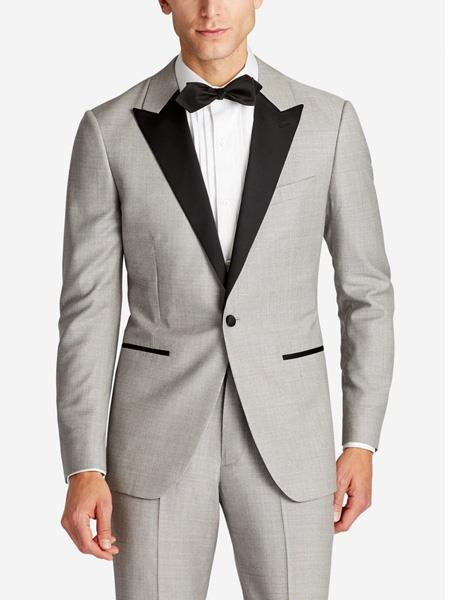Men's  Slim Fit Peak Lapel Wool Grey Tuxedo Suit Jacket