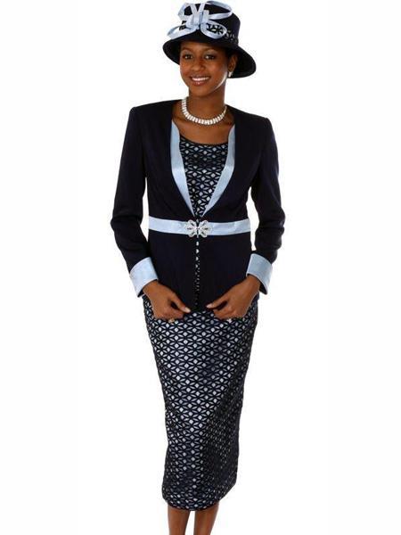 SKU#L371 Womens Long Sleeve 3 Pcs Navy Suit