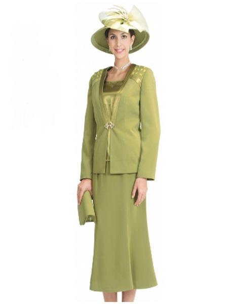 Womens Long Sleeve 3Pcs Olive Suit