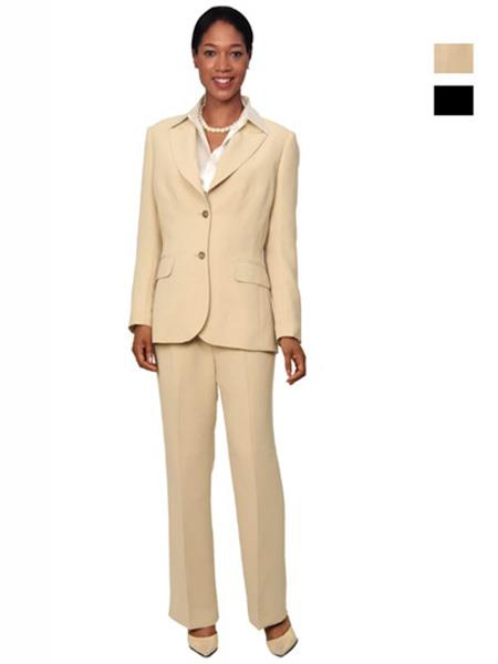 SKU#L255 Womens 2 Button Single Breasted Tan Suit