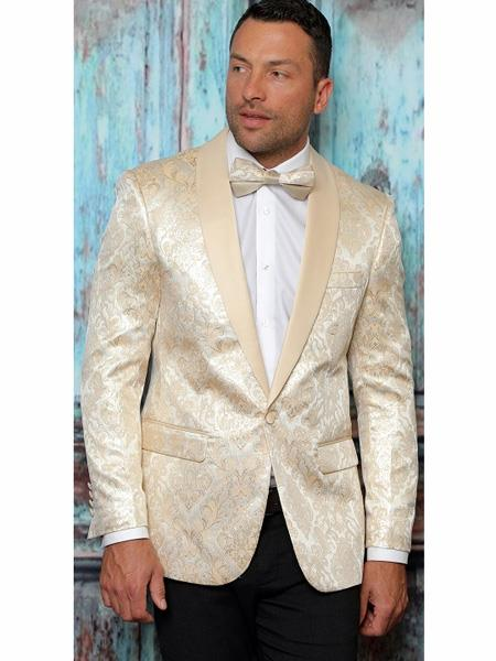 Mens One Button Floral Designed Shawl Lapel Beige Tuxedo Dinner Jacket
