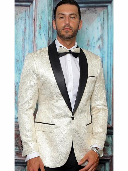 Mens One Button Floral Designed Shawl Lapel Off WhiteTuxedo Dinner Jacket