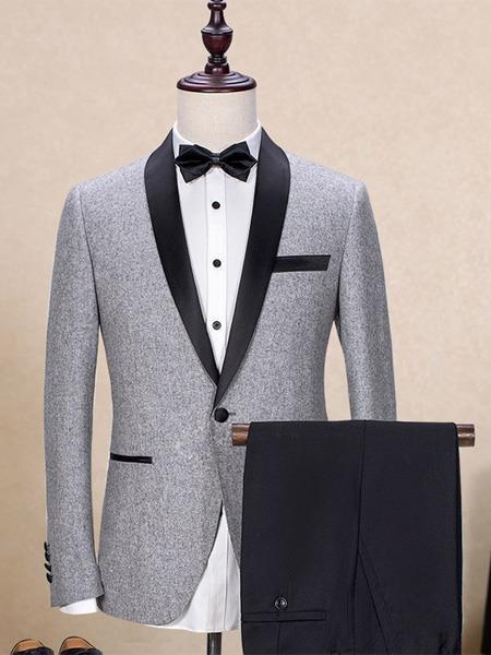 Men's One Button  Shawl Lapel  Trim Fit  Gray Tuxedo