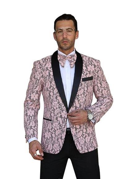 Mens Single Breasted Shawl Lapel Floral Pattern Paisley Sport Coat Blazer Dinner Jacket Whi