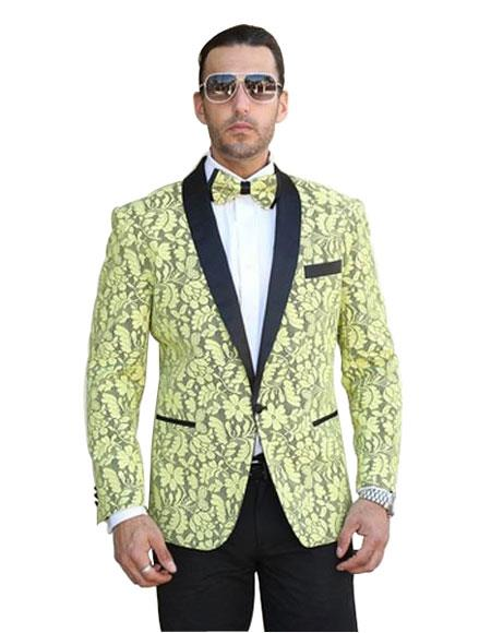 Men's Yellow  Shawl Lapel Cheap Priced Designer Fashion Dress Casual Blazer