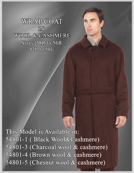 Mens Overcoat Mens Topcoat Mens Brown  Button Closure Coat