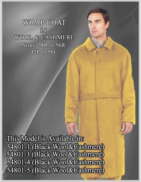 Men's Dress Coat Alberto Nardoni Brand Belted Full Length Overcoat ~ Long Men's Dress Topcoat -  Winter coat 45 Inches Wool  Button Closure Camel Coat