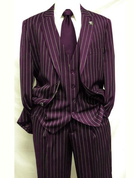 Men's Maroon ~ White Gangster Bold PinStripe Mars Vested 3 Piece Fashion Suit Pleated pant