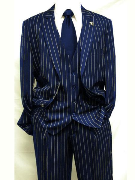 1940s Zoot Suit History & Buy Modern Zoot Suits Mens Dark Navy Blue  White Gangster Bold PinStripe Suit Pleated pant $175.00 AT vintagedancer.com