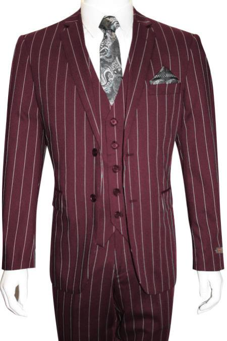 Retro Clothing for Men | Vintage Men's Fashion Mens Bold Gangster 1920s Vintage Maroon  White 2 Button Vested Suit $160.00 AT vintagedancer.com