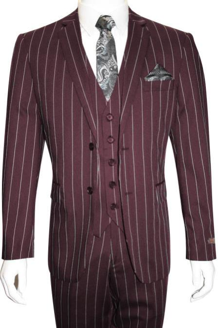 Men's Bold Gangster 1920s Burgundy  Suit Vintage Dark Burgundy ~ White Gangster Bold Stripe 2 Button Vested Suit  Black and Bold White Stripe (MO845)