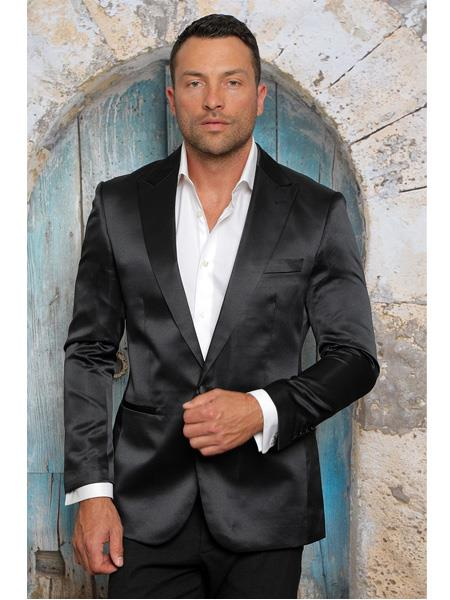 Men's Shiny Flashy Satin Solid Blazer ~ Sport Coat  Black Available in 2 buttons