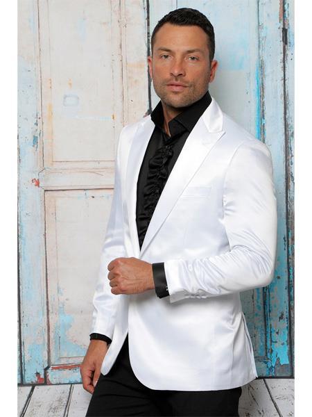 Men's White Shiny Flashy Satin Solid Blazer