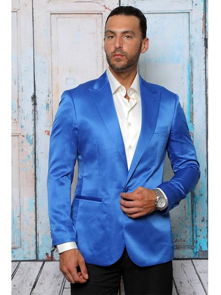 Mens Royal Blue Two Button   Blazer