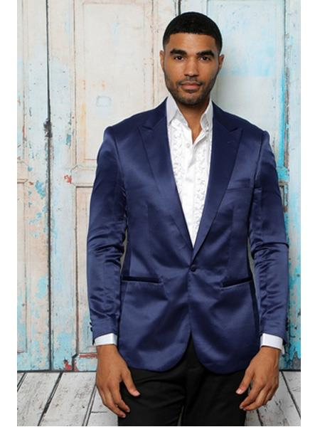 Mens Shiny Flashy Satin Solid Blazer ~ Sport Coat  Navy Blue  Available in 2 buttons Notch Lapel