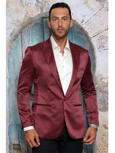 Men's Shiny Flashy Satin Solid Blazer ~ Sport Coat  Burgundy  Available in 2 buttons
