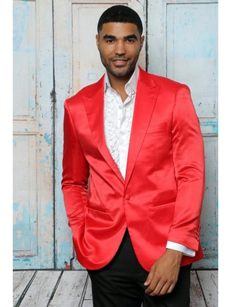 Mens Shiny Flashy Satin Solid Cheap Priced Blazer Jacket For Men ~ Sport Coat  Red  Available in 2 buttons