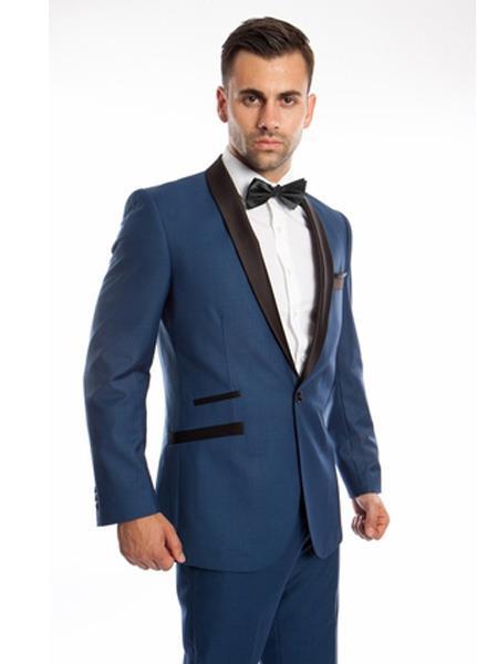 Men's 2 Piece   Prom Suit Slim Fit Shawl Lapel Blue Tuxedo