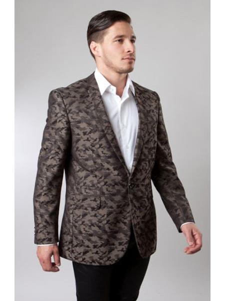 Mens Designer Fashion Dress Casual Blazer Brown