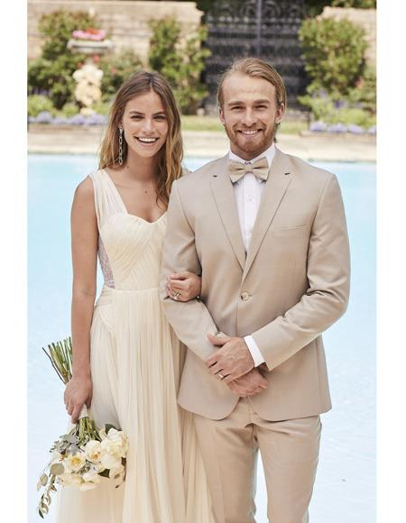 Mens Notch Lapel Cream Single Breasted Tuxedo