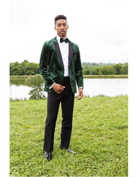 Mens Green Peak Lapel Single Breasted One Chest Pocket Tuxedo