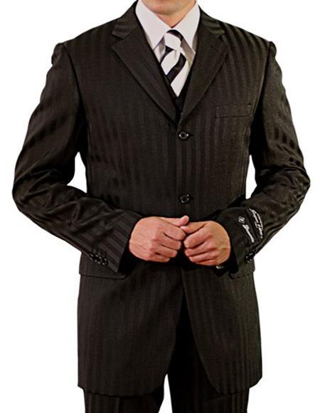 Men's  Three Button Vest Suit