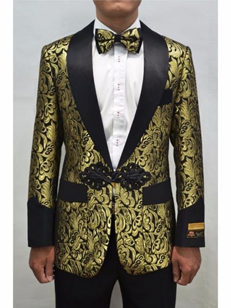 Alberto Nardoni Brand Mens Gold & Black Mens Prom Blazer Fashion Sport Coat Matching Bowti