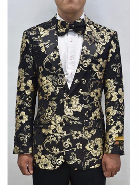 Mens  Flap Two Front Pockets Fashion Gold & Black Sport Coat