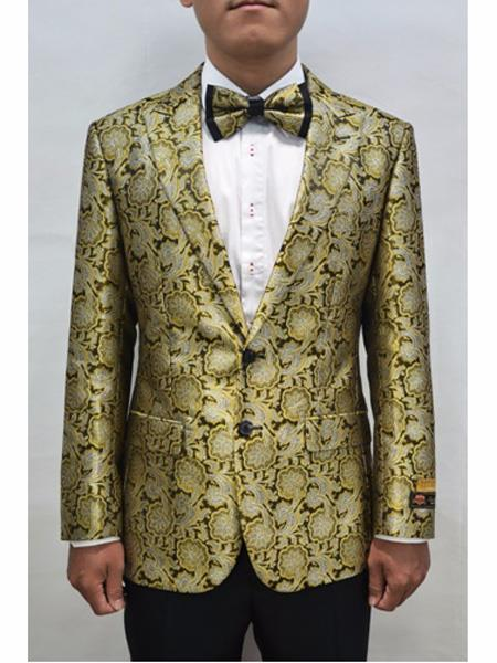 Gold & Black 2 Button Floral Pattern Fashion Prom Sport Coat For Mens