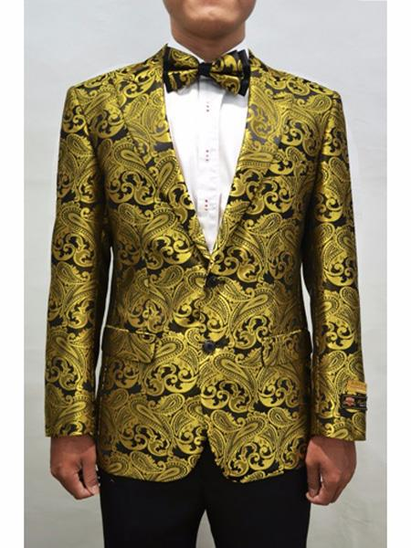 Men's Gold & Black Peak Lapel Paisley Pattern Prom Blazer