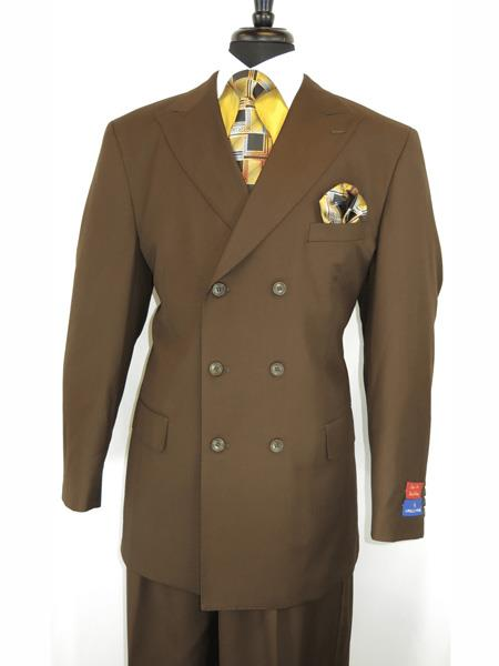 Men's Vintage Style Suits, Classic Suits Mens Button Closure Peak Lapel Brown Double Breasted Suit $140.00 AT vintagedancer.com