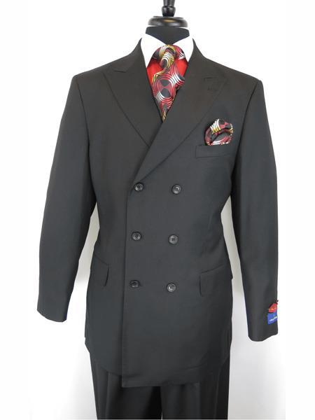 Mens Button Closure Peak Lapel Jet Black Double Breasted Suit
