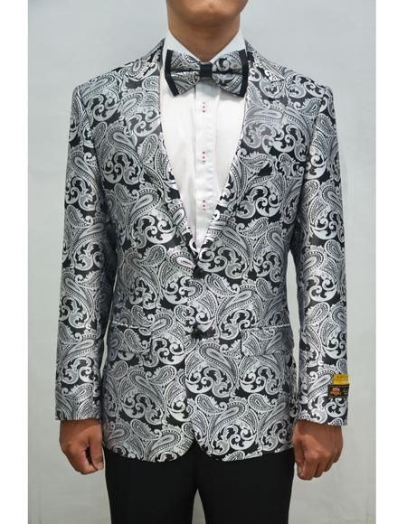 Style#PAISLEY100  Unique  Mens Floral ~ Fancy Fashion Paisley Blazer Sport Coat + Matching Bow Tie Perfect For Wedding & Prom Charcoal