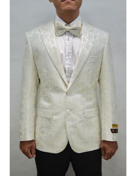 Style#PAISLEY100  Unique Mens Floral  Fancy Fashion Paisley Blazer Sport Coat + Matching Bow Tie Perfect For Wedding & Prom Ivory