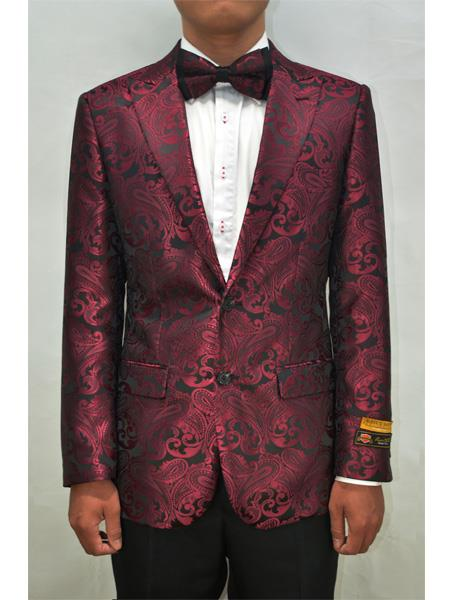 Style#PAISLEY100  Unique Men's Floral Fancy Fashion Paisley Blazer Sport Coat + Matching Bow Tie Perfect For Wedding & Prom Burgundy