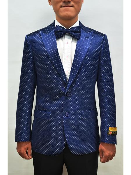 Style#PAISLEY100  Unique Mens Floral Fancy Fashion Paisley Polka Dot Pattern Blazer Sport Coat + Matching Bow Tie Perfect For Wedding & Prom Royal Blue